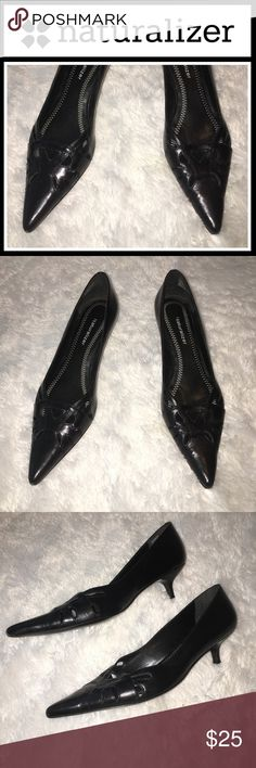 Naturalizer Pointed kitten heel pump Perfect condition, size is 8.5 but they fit me and I'm an 8 so I would say they run small! Small litter heel cutout pointed toe pump from naturalizer. Naturalizer Shoes Heels
