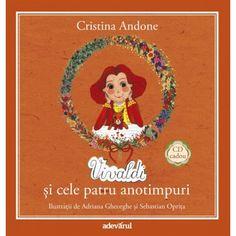 """Vivaldi si cele patru anotimpuri - Carte + CD;  Povestea faimosului compozitor italian, vazut aici în chip de spiridus si a prietenei sale cele mai bune, veverita Vivi, de care este nedespartit.  Fiindca adora primavara si numai primavara, zânele protectoare ale celorlalte trei anotimpuri """"nedreptatite"""" se hotarasc sa-i dea roscovanului compozitor-spiridus o lectie, si anume sa-l lipseasca de caldura verii, de culorile superbe ale toamnei si de stralucirea de cristal a iernii."""