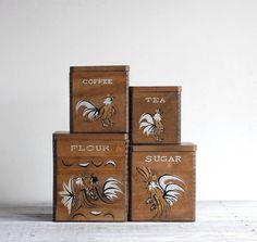 Wooden Rack 3 Ceramic Tea Coffee Sugar Storage Jars Home Kitchen Wall Mountable