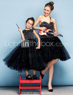 Evento Formal Vestido Salón Corazón Hasta la Rodilla Tul con Cuentas / Detalles de Cristal 2016 - €136.6
