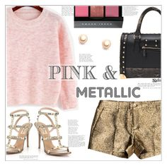 """Pink & Metallic"" by mycherryblossom ❤ liked on Polyvore featuring Michael Kors, Valentino, Bobbi Brown Cosmetics, Pink, metallic, polyvoreeditorial and polyvorestyle"