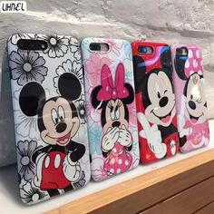 LIHNEL IMD Cartoon Mickey Minnie Mouse Couple Shockproof TPU Back Shell Cover for iPhone 6 Plus 6 6S 7 7Plus Full Coverage Capes