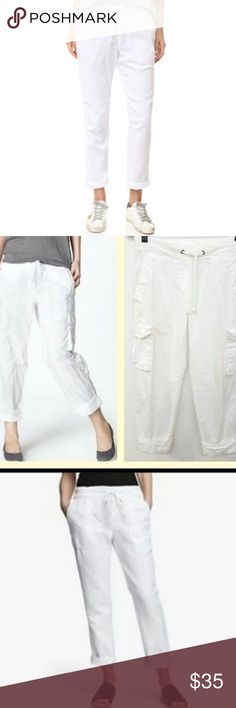 James Perse White Cargo Pants In GUC, drawstring waist, very lightweight, not too sheer, great for summer. James Perse Pants