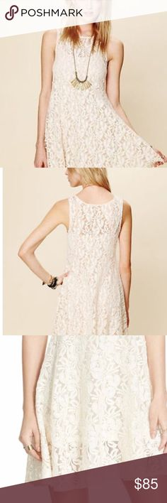 "🌸Free People Lace mini dress  🌸NWT FP ""Miles of Lace""  all lace fit and flare🌸         Ivory Color with matching slip that has adjustable straps 🌸 XS NWT Free People Dresses Mini"