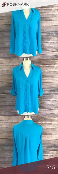 Express Sz Med Womens Top Aqua Blue Tabbed Sleeve Measurements: (in inches) -Underarm to underarm: 20 - Length: 29  Good, gently used condition Express Tops Button Down Shirts