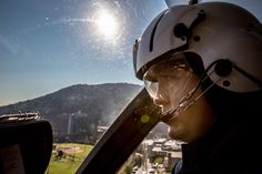Devin Dill flies a Life-Guard helicopter over Roanoke Valley. Established in 1981, Life-Guard is Virginia's first air medical service and currently operates three helicopters in the region.