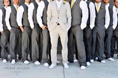 You can't tell me that's not hot. I'm really digging this look for the guys. No coats. Just vests. Except maybe for the groom. Light gray for the groom. Darker gray for the groomsmen. An orange & blue tie. & those White Converse, yes. Grey Suit Wedding, Wedding Men, Dream Wedding, Casual Wedding, Wedding Groom, Summer Wedding, Wedding Blog, Wedding Beach, Wedding Tuxedos