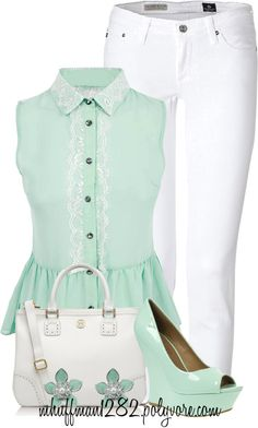Mint Peplum Top with White Capri Summer Outfits, Cute Outfits, Summer Clothes, Fashion Beauty, Womens Fashion, Fashion Fashion, Fashion Ideas, White Capris, Pants Outfit