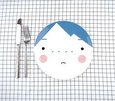 Face Plate  Beau Blue  Bone China  ceramic by SketchInc on Etsy