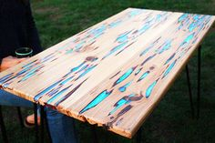 wood and resin table (this one glows in the dark!)