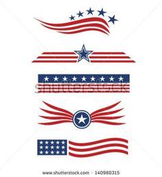 USA star flag design elements vector