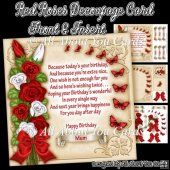 Red Roses Decoupage Card Front