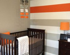 Grey and Orange Nursery Mobile...Tangerine clouds