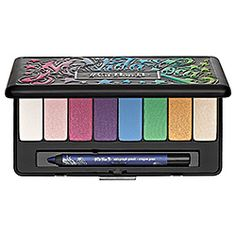 What it is:A palette of eight bright eye shadows and a mini eyeliner for creating a variety of bold looks.What it does:This collection from Kat Von D kicks off with eight stunning eye shadows and an on-the-go mini eyeliner, each in a daring shade tha