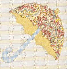 Umbrella Block From Primavera Quilt. A Vintage Spool Design By Verna Mosquera.
