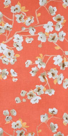 Braemore Sakura Kumquat floral Fabric in a coral/orange color with white and gray blossoms