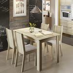 Conjunto Para Sala De Jantar Mesa Com 4 Cadeiras Rosie Madesa Acácia/Suede Pérola 399,90