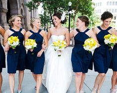 A Navy  Sunny Yellow Wedding - Wedding Obsessions | The Knot @Ashleigh {bee in our bonnet} {bee in our bonnet} Hawkins You can always do pops of color through flowers and shoes and go solid on dresses