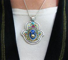 Necklace Hamsa Swrovski crystal Silver Evil Eye by IrinaSmilansky