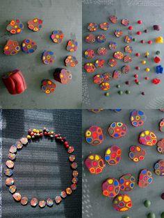 FIMO-retroilua pursotintekniikalla. FIMO retro products using extruder techniques.