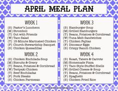 Budget meal planning 227150374942572535 - Sew Much Crafting: monthly meal plan Source by jadljrdl Monthly Meal Planning, Budget Meal Planning, Family Meal Planning, Meal Planning Printable, Cooking On A Budget, Meal Planner, Budget Meals, Family Meals, Weekly Meal Plan Family
