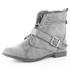 Lace-up boots.
