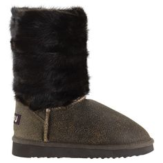 Mou Mink Muffle Boots Cracked Brown - MOU #mou #mouboots #boots #fashion #style