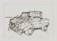 Author Aleksey Lubimov. LUAZ funny sketch. #алексейлюбимовбиомеханика #алексейлюбимов #стимпанк #дизельпанк #биомеханика #marchofrobots #steampunk #dieselpunk #alekseylubimov_art #biomechanical #lineart #engine #luaz #луаз #заз
