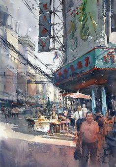 Yaowarat, Bangkok (watercolor, 36x50 cm)
