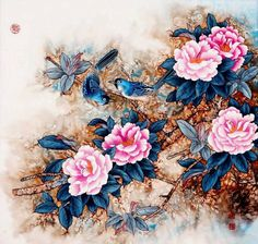 ' s e a s o n of l o v e ' by: © Jin Hongjun 靳洪軍 Traditional Chinese painting Love Painting, Chinese Painting, Chinese Art, Asian Flowers, Chinese Flowers, Art Floral, Floral Illustrations, Botanical Illustration, Beautiful Drawings