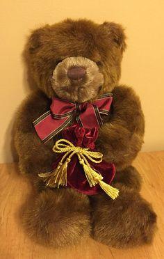 GUND VALENTINES BEAR Velvet Jewelry Bag Plush Stuffed Teddy Toy Valentine's Day #Gund