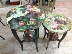 pretty decoupaged tables with floral wallpaper or wrapping paper. Beautiful tables with pinks, navy,golds and green.