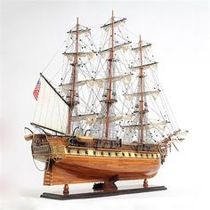 Old Modern USS Constitution Ship Model Statue