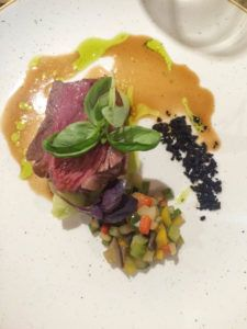 The Newbury tasting menu - this is the lamb with basil mash and ratatouille, my favourite dish of the evening!
