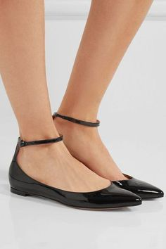 Gianvito Rossi - Patent-leather Ballet Flats - Black - IT40.5
