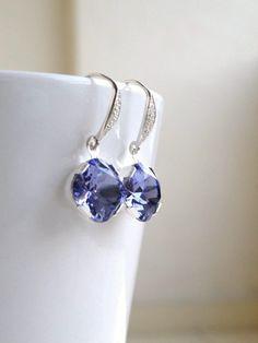 Tanzanite Purple Earrings Swarovski Crystal Foiled by SomsStudio