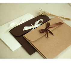 Free shipping! 100 Wholesale Kraft/ White Envelope WITH RIBBON - Gift Packaging - Scarf Box, Drawing, Photography Jacket / Wedding Favors