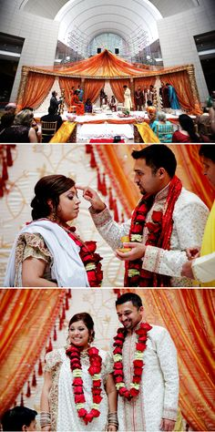 Bright multicultural wedding ceremony in Ronald Reagan Building, photography by Jennifer Domenick - Love Life Images