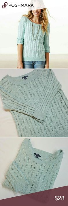 American Eagle outfitters Teal knit sweater American Eagle outfitters Teal knit sweater in great condition like new. 3/4 sleeve  **8bin ( storage note to self) American Eagle Outfitters Sweaters