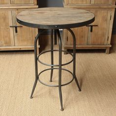 EM-756-4-A Mesa alta de madera y metal (80x96.5x115) Stool, House, Table, Furniture, Home Decor, Iron, Wood, Ideas, Kitchen Tables