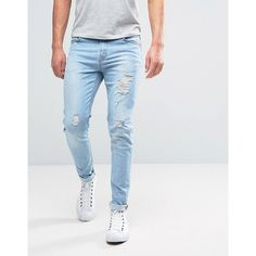 Hoxton Denim Jeans Skinny Bleach Out Small Rip and Repair Jean ($66) ❤ liked on Polyvore featuring men's fashion, men's clothing, men's jeans, blue, mens blue skinny jeans, tall mens jeans, mens super skinny jeans, mens blue jeans and mens light wash jeans