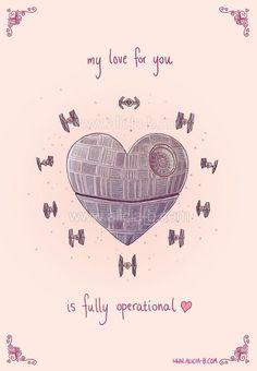 What classic sci-fi nerd wouldn't love a Star Wars love note for Valentine's Day? My Funny Valentine, Valentine Day Cards, Nerdy Valentines, Manualidades Star Wars, Foto Fantasy, Star War 3, Death Star, Ideias Diy, Nerd Love