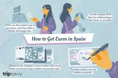 If you're heading to Spain, learn how to get Euros, exchange money, use ATMs, and more. Work Visa, Exchange Rate, Spain Travel, Travel Tips, Cruise, Learning, Euro, Spanish, Barcelona