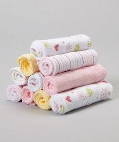 Look at this #zulilyfind! Pink Flower  Heart Washcloth Set by SpaSilk #zulilyfinds