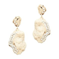 "Giselle Earrings  Giselle's hammered gold is accented beautifully by delicate double rows of CZ's. These two drop ""rocks"" add more than a touch of glam while invoking nature's beauty. Perfect with a classic cocktail dress.    - Gold tone metal, CZ  - 2"" long   - Post back for pierced ears"