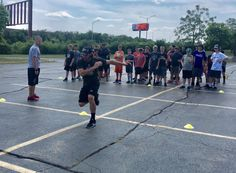 Coach Carcillo demonstrates explosive push off exercises at off-ice training. Playground Painting, Youth Hockey, Blackhawks Hockey, Exercises, Ice, Training, Camping, Sports, Campsite