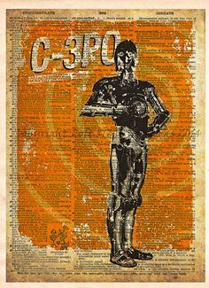 Star Wars C3PO, Vintage Silhouette print, Retro Star Wars Art, Dictionary print art