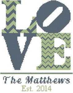 Modern Wedding Cross Stitch Pattern  Love Personalized with Name and Est. Date
