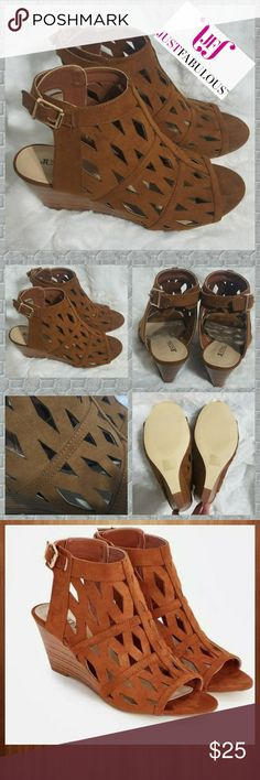 """👡NWOT! JUSTFAB SANDALS👡 New without box!! Justfab sandals, size 8 1/2.  A faux suede laser cut sandal featuring a faux stacked wedge and buckle ankle strap closure. Approx. Heel Height: 2.25"""". Extra room across the footbed, ball of the foot and instep. Thanks so much for looking. Be sure to check out my closet for other great deals on name brands and bundle to save even more. JustFab Shoes Sandals"""