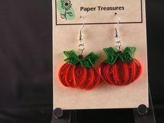 Quilled pumpkin earrings